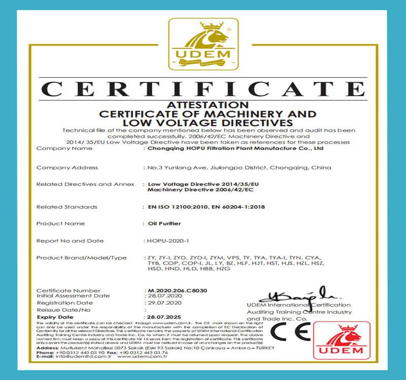 CE Approvel for HOPU Oil Purifier Machine