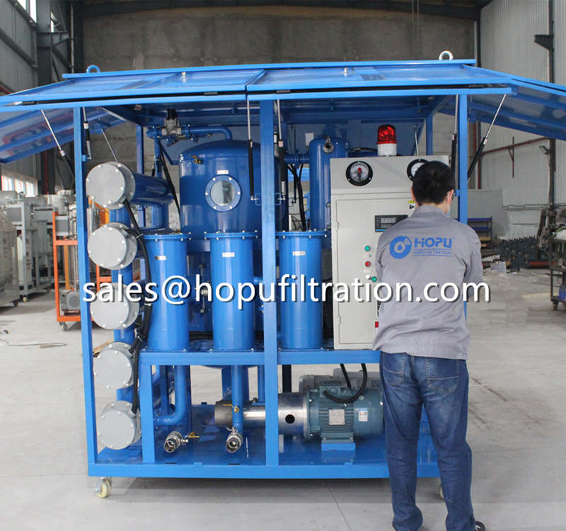 Pneumatic support enclosure type transformer oil purifier