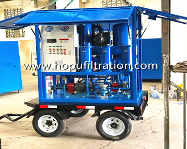mobile trailer vacuum oil purifier car wheel mounted