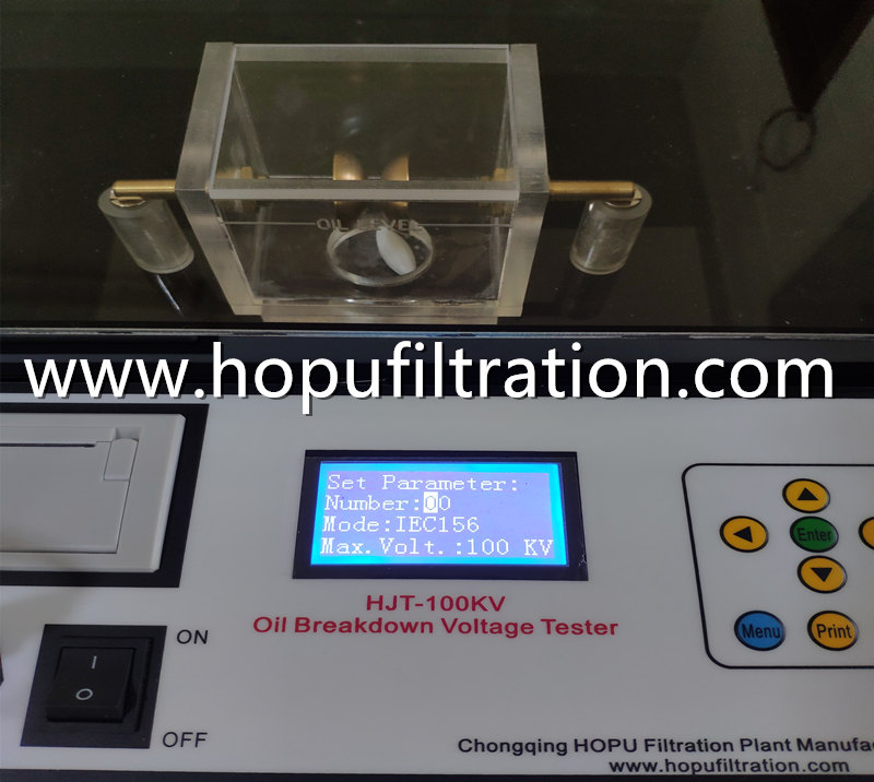 IEC156 Transformer Oil Breakdown Voltage Tester, 100KV Insulation Oil Analyser