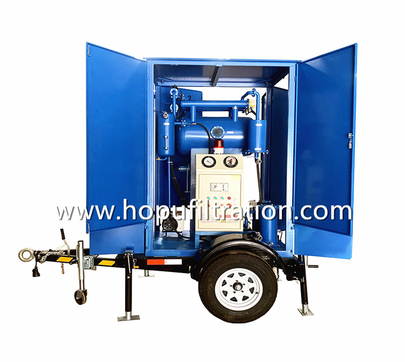 Trolley Mounted Single StageTransformer Oil Purifier, Movable Oil Purification Unit